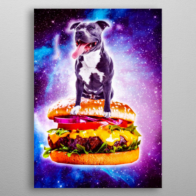 Pick up this crazy hipster design with a dog flying on hamburger in space. metal poster