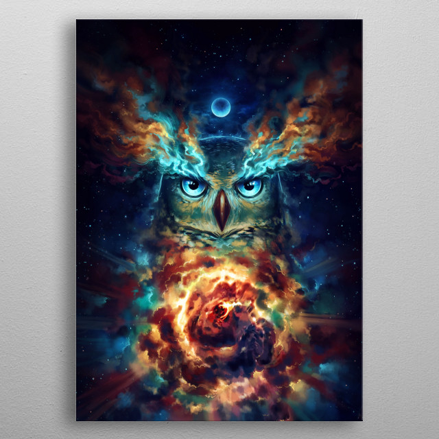 """Illustration of a wise galactic owl, part of my """"Keepers of the Universe"""" series. metal poster"""