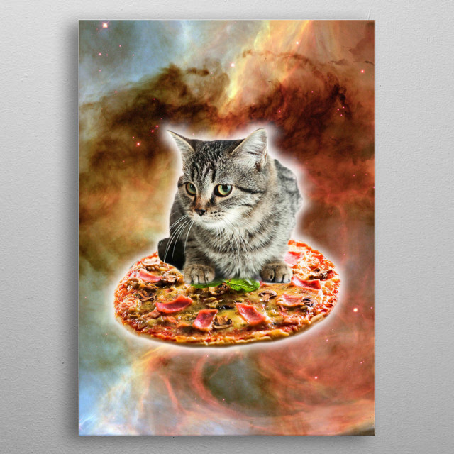 Pick up this funny hipster design with an outer space kitten on pizza. metal poster