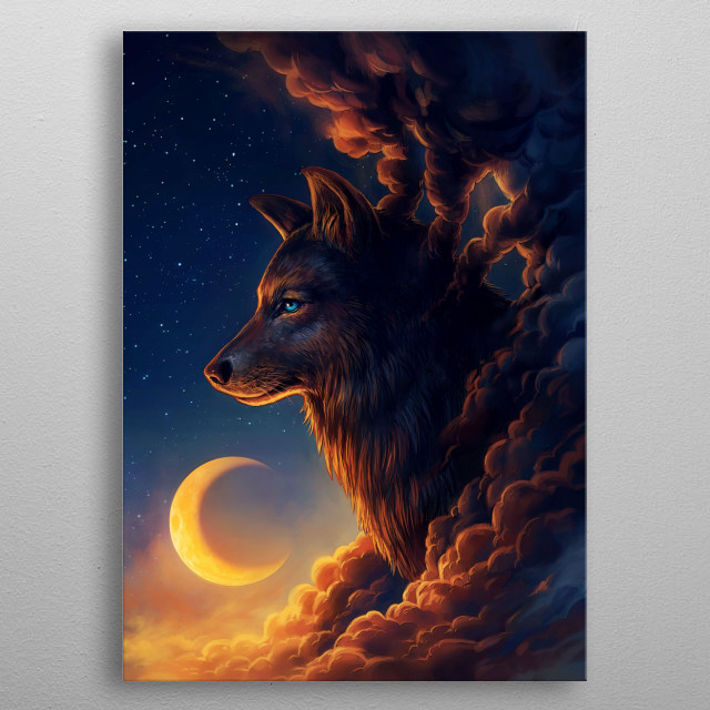 """Illustration of a galactic wolf, part of my """"Keepers of the Universe"""" series. metal poster"""