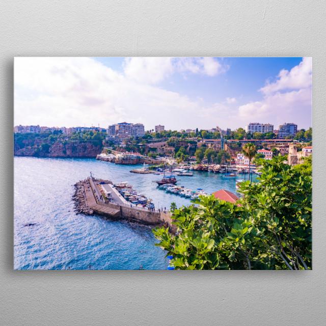 The beautiful shore to the mediterranean sea in Turkey, Antalya metal poster