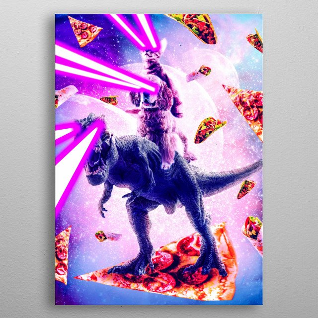 Pick up this funny hipster design with an outer space galaxy kitty cat and pizza, taco, and burrito. metal poster