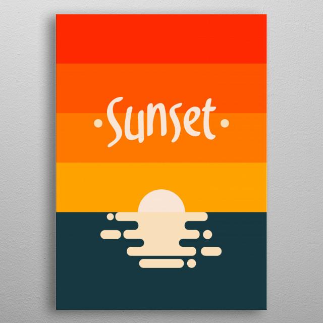 sunset yang berada di pantai ... bagus untuk poster atau pajangan di cafe atau rumah... print yang bagus membuat hati tenang dan damai ..... metal poster