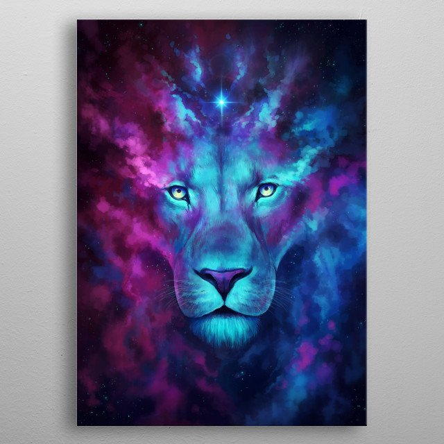 "Illustration of a galactic lion, part of my ""Keepers of the Universe"" series. metal poster"