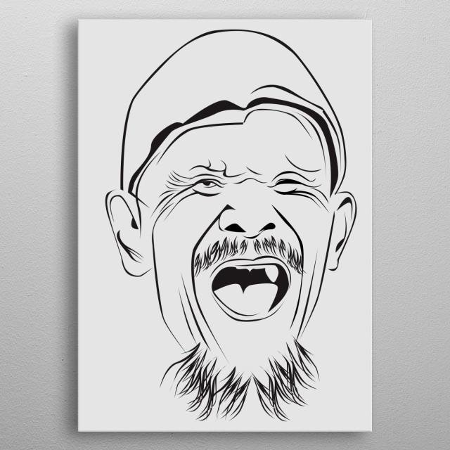 old man line art metal poster