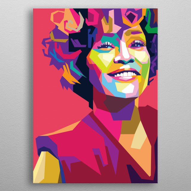 portrait of whitney houston in wedha's pop art portrait style metal poster