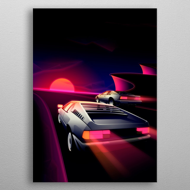 A couple of 80s inspired supercars racing it out on scenic cliffs.  metal poster