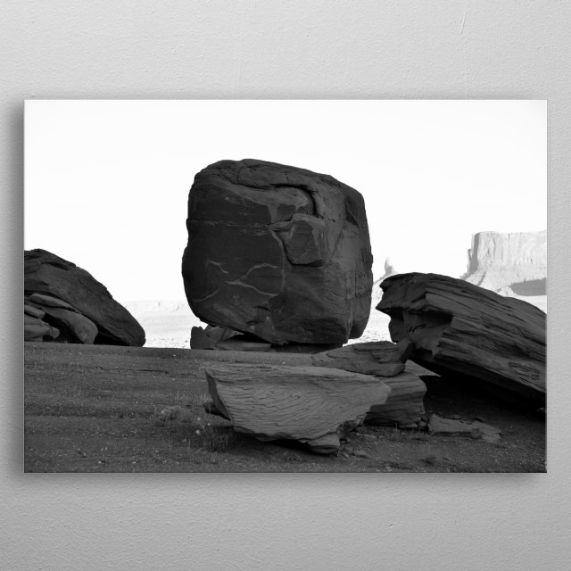 Fine art photography of a giant boulder known as The Cube, Monument Valley Arizona.  metal poster