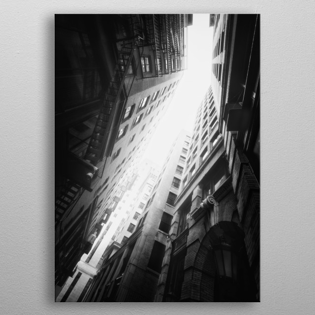 Looking up in downtown Boston. metal poster