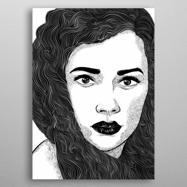 Female portrait illustration done in unique line style metal poster