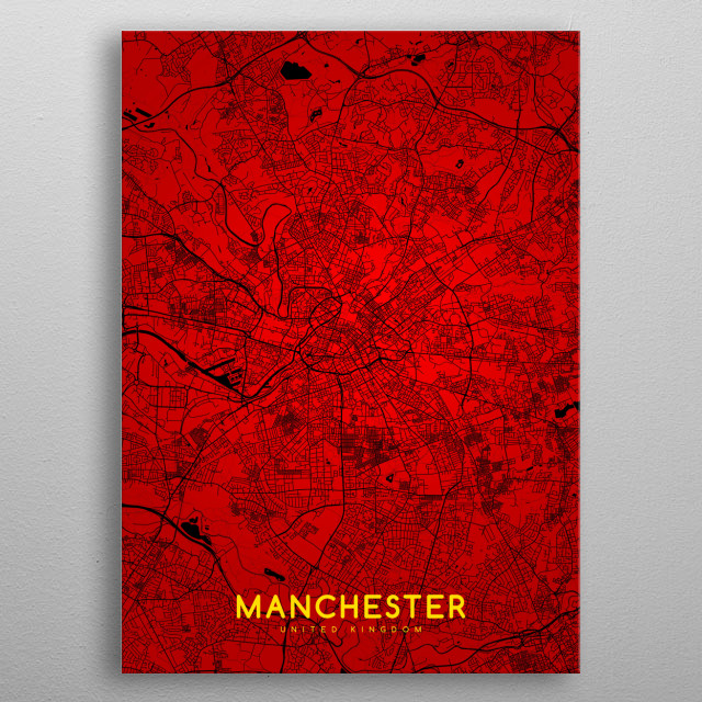 Manchester map metal poster