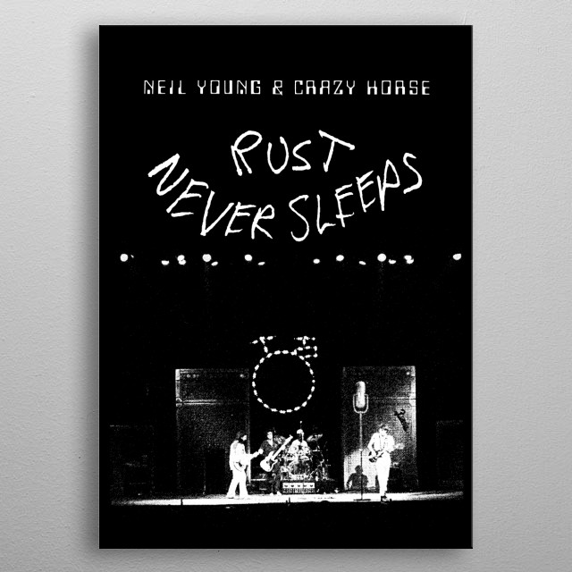 Neil Young-Rust never Sleeps-live album Cover-Music,Folk,Rock-Guitar-Grunge-Black and White -1979 metal poster