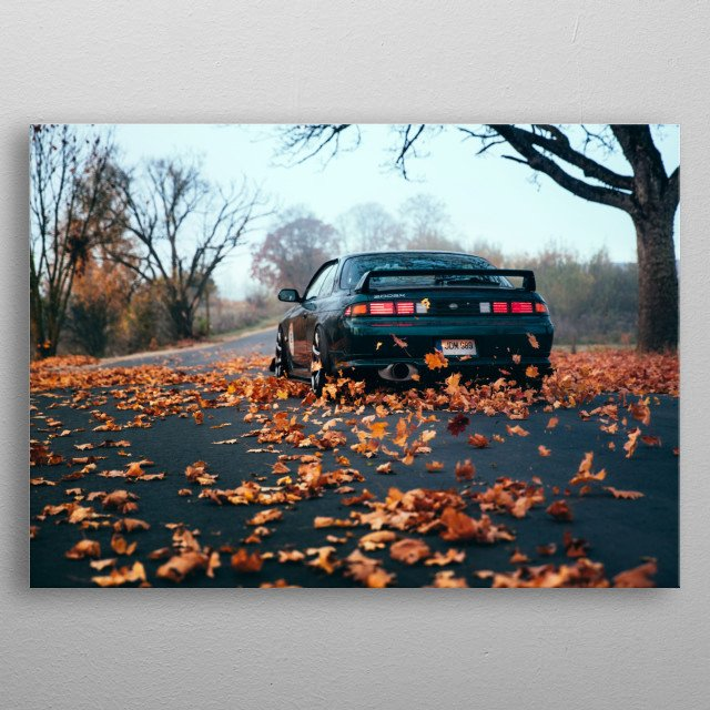 Epic Nissan 200SX JDM Flying by the road full of autumn leaves metal poster