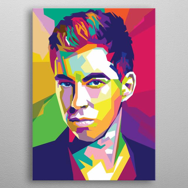 Robbert van de Corput A.K.A DJ Hardwell portrait in wedha's pop art portrait style metal poster