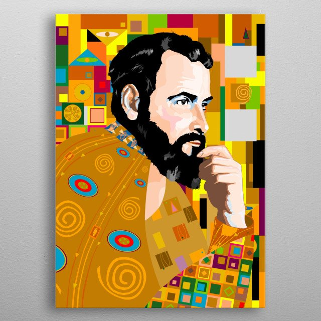 My homage to the greatest creative thinker of the 19th century - Gustav Klimt. He never produced a self portrait, here he is, in his style. metal poster