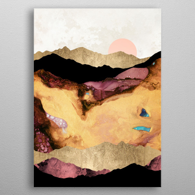 Abstract landscape of mauve and gold mountains metal poster