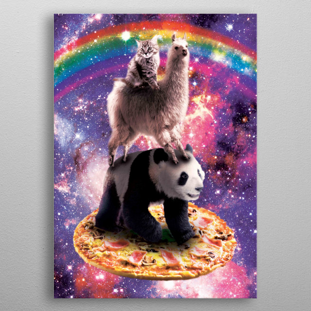 Pick up this funny outer space galaxy cat riding llama riding panda on pizza design. metal poster
