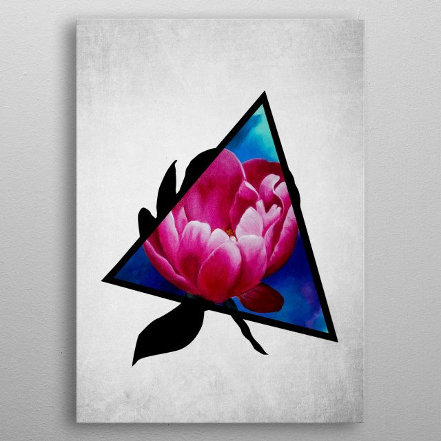 A digital illustration of an acrylic painting of a pink peony flower popping out from a triangle metal poster