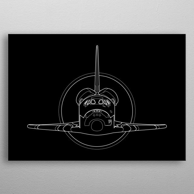 A minimal black and white diagram of  the Space Shuttle metal poster