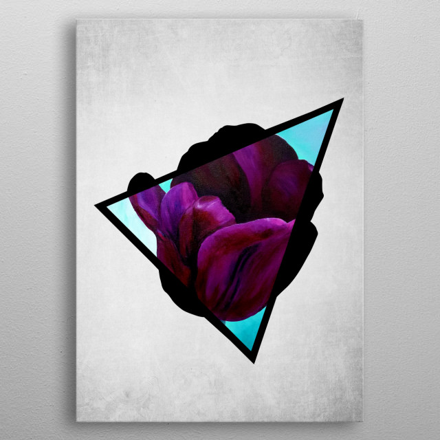 A digital illustration of an acrylic painting of a dark purple tulip flower popping out from a triangle. metal poster