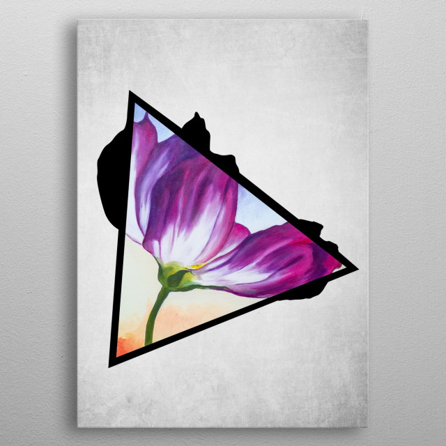 A digital illustration of an acrylic painting of a purple-white tulip flower popping out from a triangle. metal poster