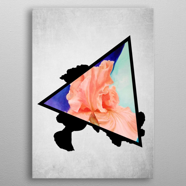 A digital illustration of an acrylic painting of a pink iris flower popping out from a triangle metal poster