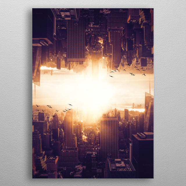Poster of a city turned upside down metal poster