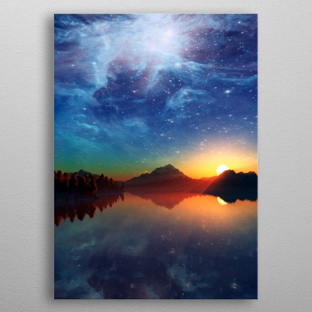 Landscape under the Milky way. metal poster