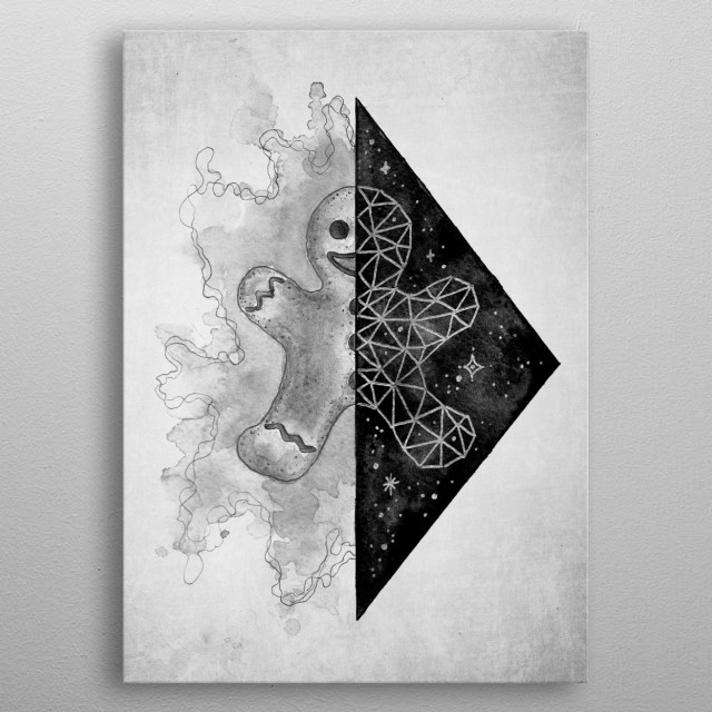 Illustration of a watercolour gingerbread man with an ink splash and polygon art reflection in a triangular galaxy mirror. metal poster