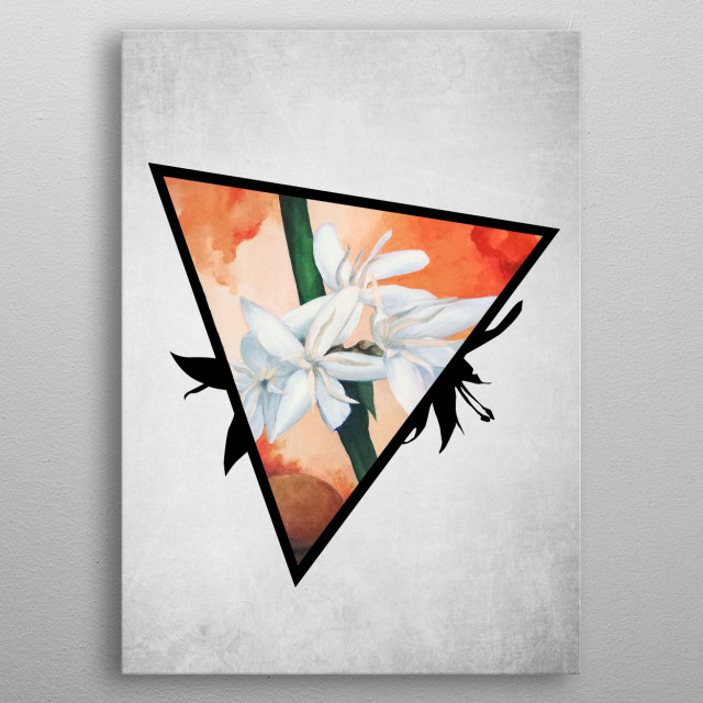 A digital illustration of an acrylic painting of a white coffee flower popping out from a triangle metal poster