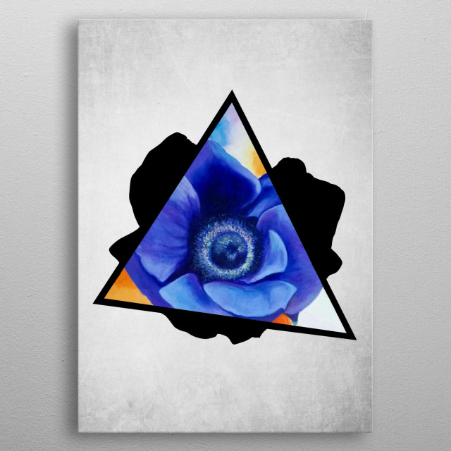 A digital illustration of an acrylic painting of a purple anemone flower popping out from a triangle metal poster