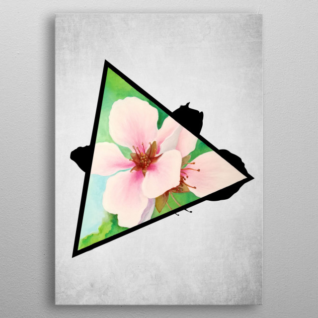 A digital illustration of an acrylic painting of pink cherry blossoms popping out from a triangle metal poster