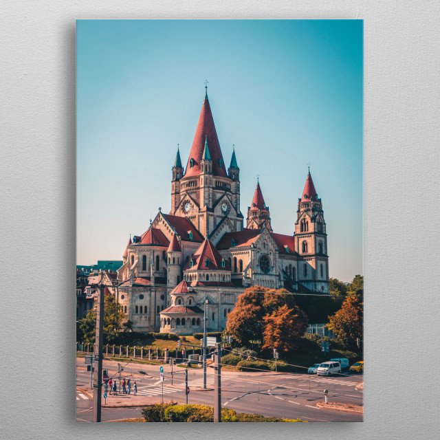 Fantastic view of the majestic San Francis church in Vienna. metal poster
