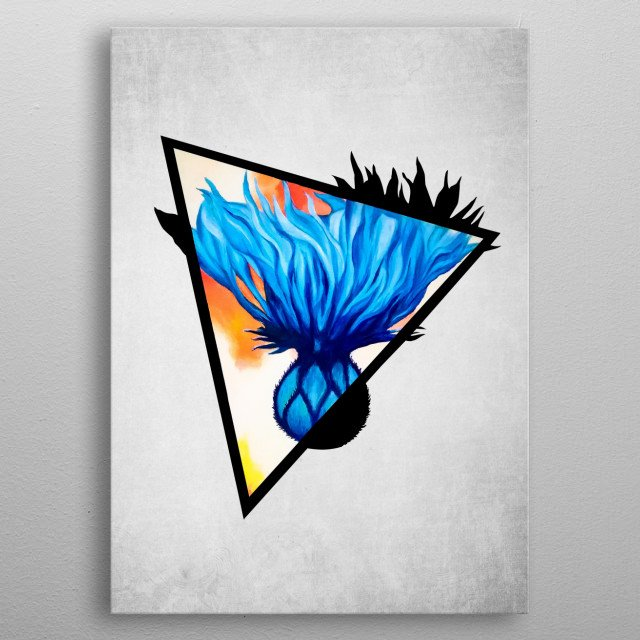 A digital illustration of an acrylic painting of a blue cornflower popping out from a triangle metal poster