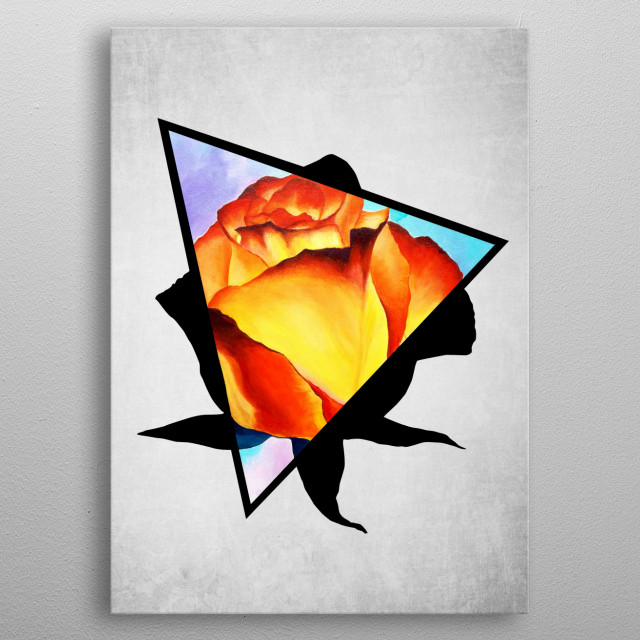 A digital illustration of an acrylic painting of a fire yellow and red rose popping out from a triangle. metal poster