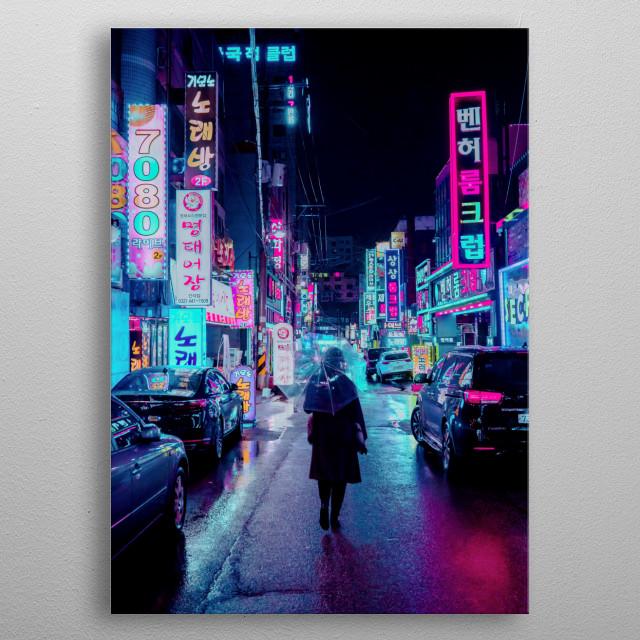 Cyberpunk Lights on a Seoul Night metal poster