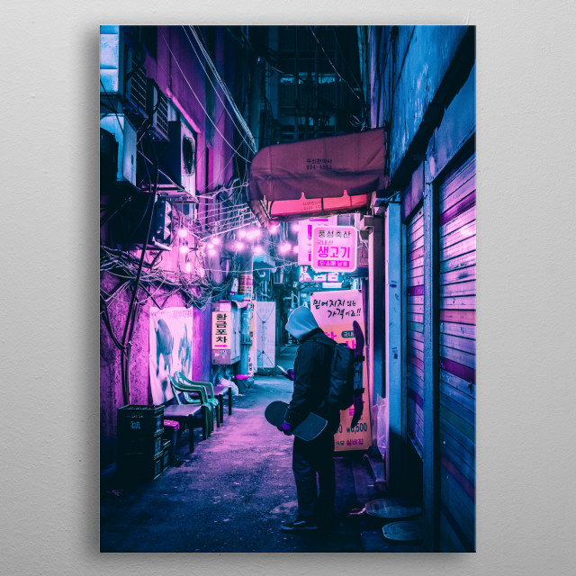 High-quality metal print from amazing Cyberpunk Seoul collection will bring unique style to your space and will show off your personality. metal poster