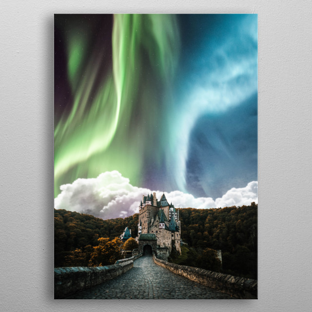 Aurora over the castle metal poster