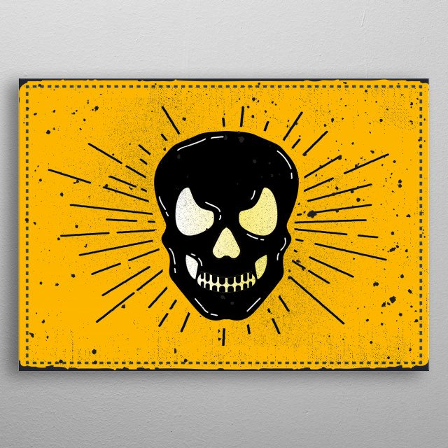 Skull Over Yellow Background.   This awesome guy is perfect for any room!  metal poster