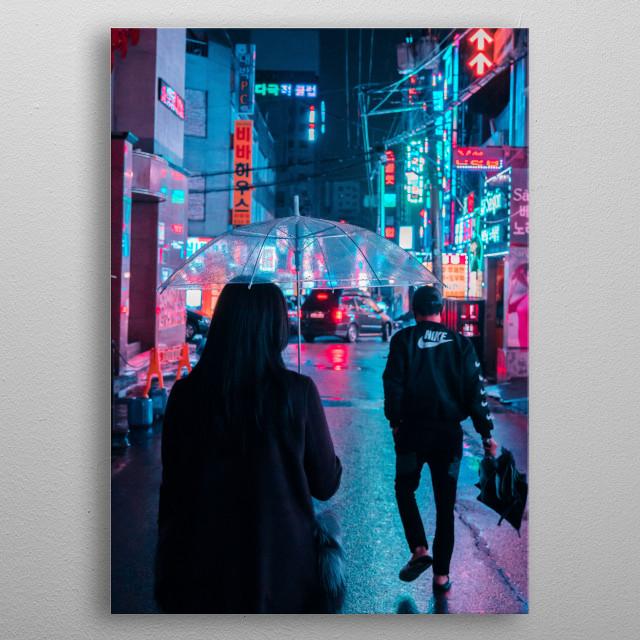 Neon in Seoul metal poster