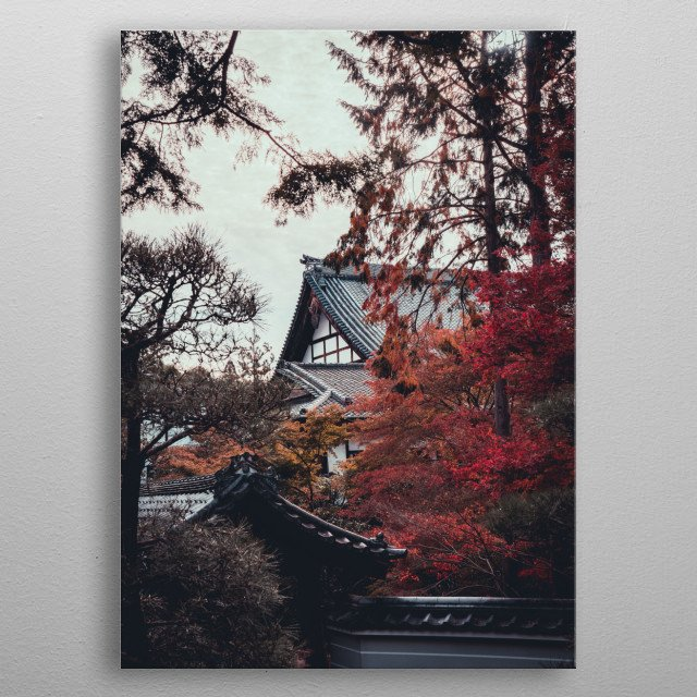 Autumn Colours in Kyoto metal poster