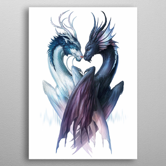 Illustration of two dragons. Part of my Yin and Yang animal series Symbols of Life. metal poster