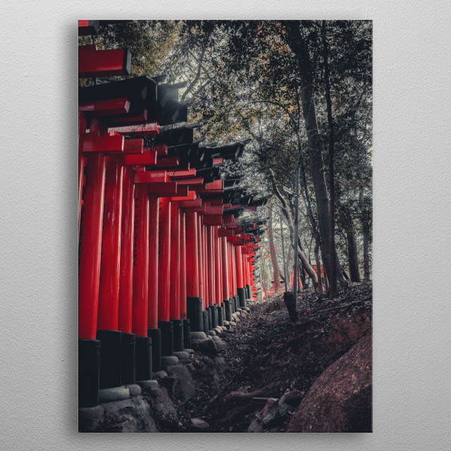 The history and beauty of one of my favourite parts of Japan Fushimi Inari-taisha  metal poster