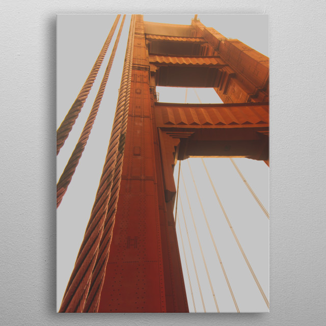 Sunset at goldengate metal poster