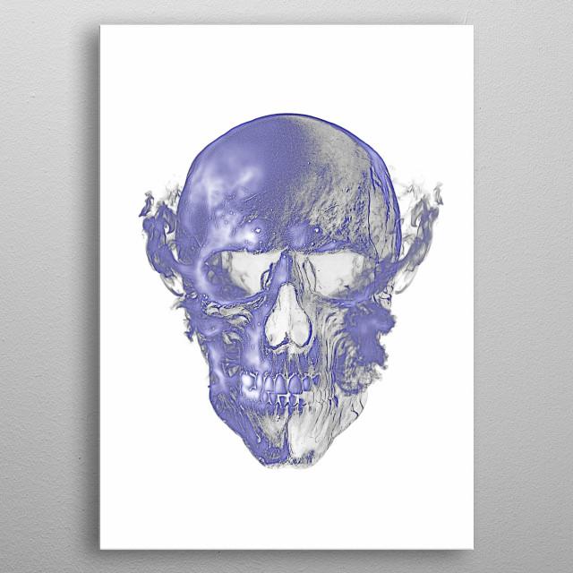 Skull in fire or Ghost rider skull in negative. metal poster