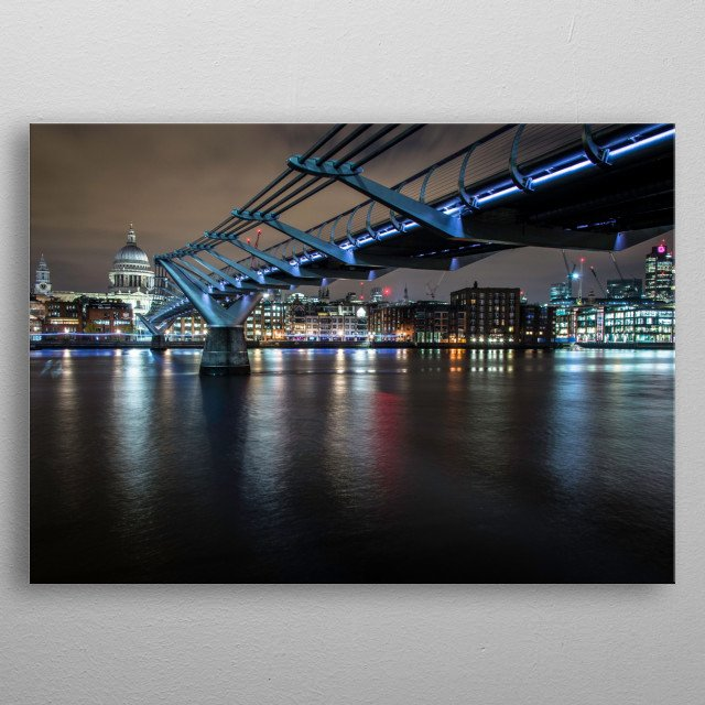 This photo was taken in London of the famous Millennium Bridge.  metal poster