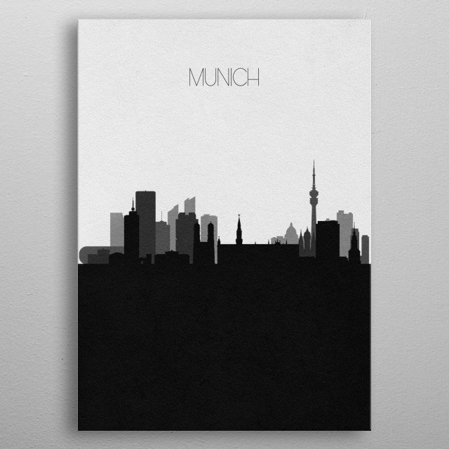 Black and white skyline illustration of Munich, Germany. This minimalistic poster features famous landmarks and buildings of the city. metal poster