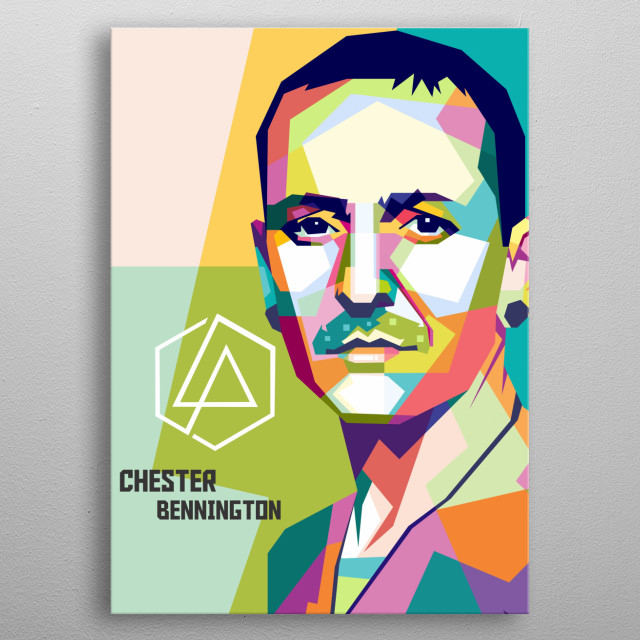 Chester B lead vocal linkinkpark rockband in wpap popart style metal poster