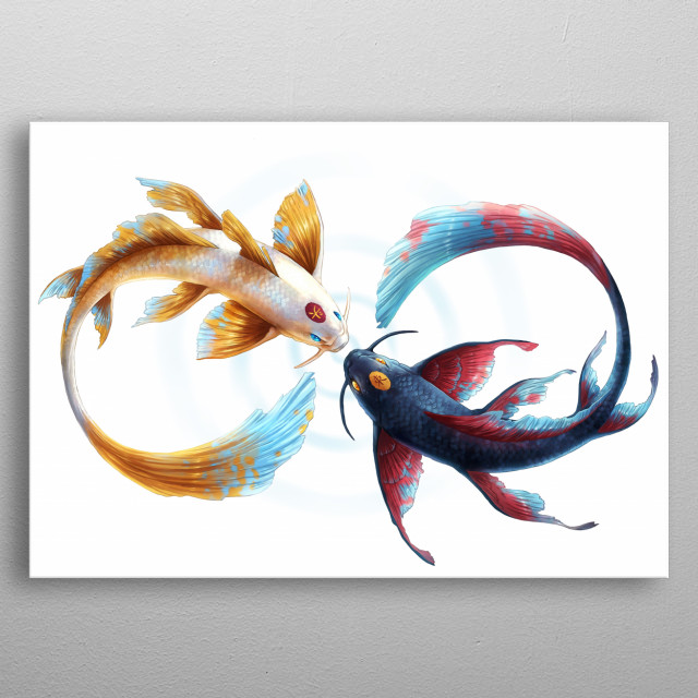 Illustration of two Koi Fish. Part of my Yin and Yang animal series Symbols of Life. metal poster