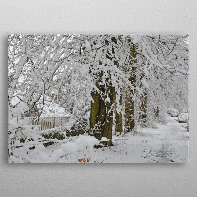 Snowy day in Buxton, Derbyshire metal poster